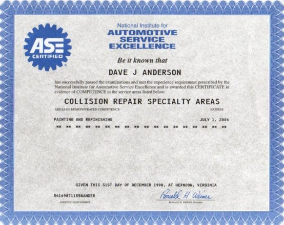 Auto Painting Ase Certification